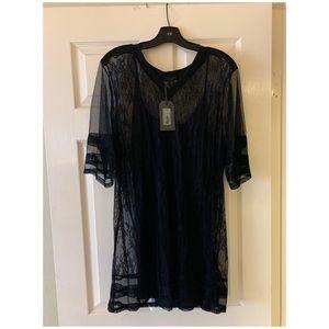 All Saints V neck T-shirt lace dress
